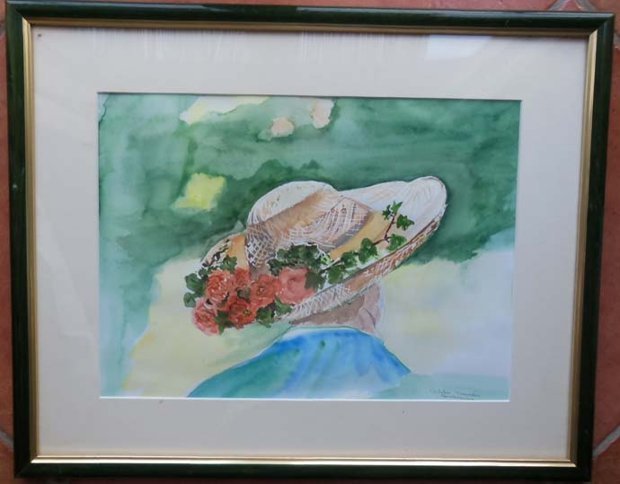 photo_tableau_Aquarelle chapeau fleuri