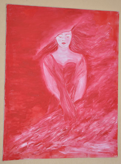 photo_tableau_la femme en rouge