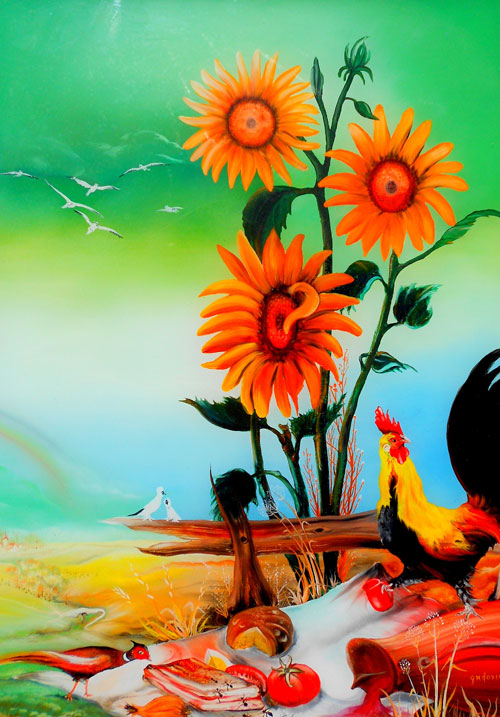 photo_tableau_Le coq au tournesol