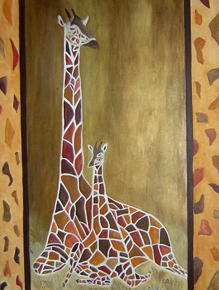photo_tableau_Maman girafe et son girafon