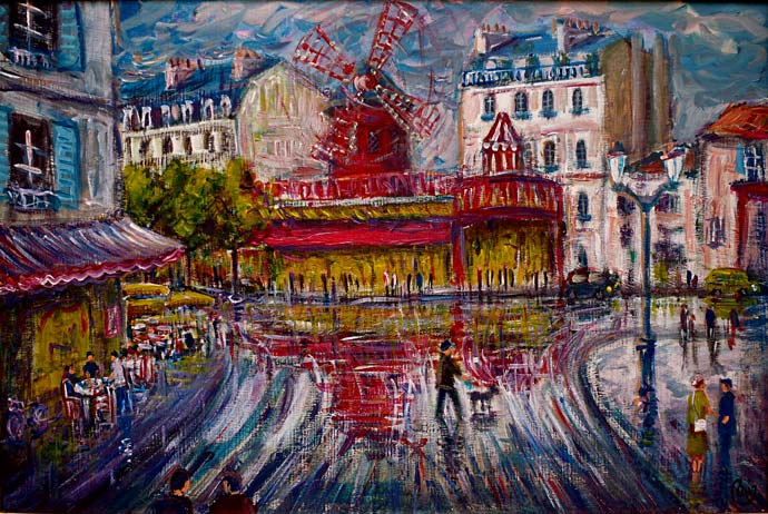 tableau impressionnisme montmartre le moulin rouge rouge. Black Bedroom Furniture Sets. Home Design Ideas