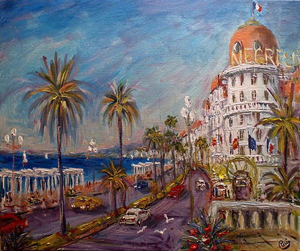 tableau art figuratif nice promenade des anglais bleu. Black Bedroom Furniture Sets. Home Design Ideas