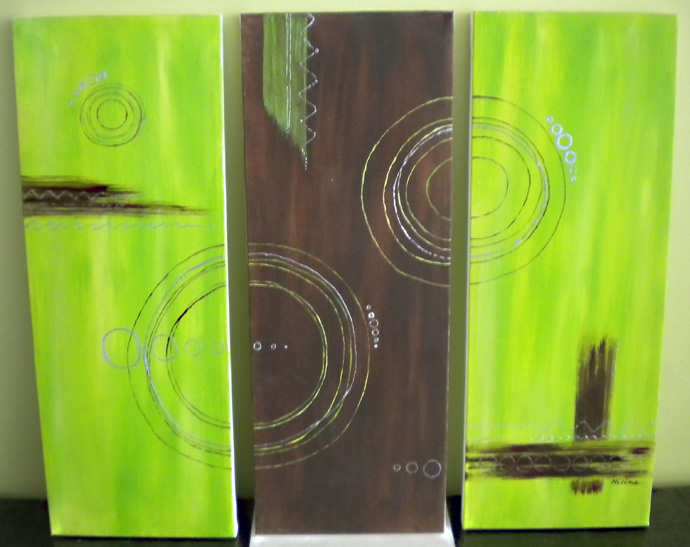 tableau art abstrait triptyque green bubbles. Black Bedroom Furniture Sets. Home Design Ideas