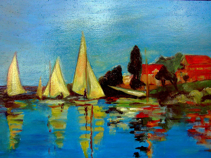 photo_tableau_VOILES JAUNES inspiration Monet